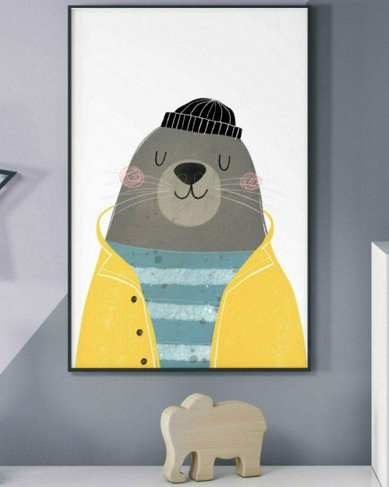 Obrazek do pokoju dziecka foka marynarz