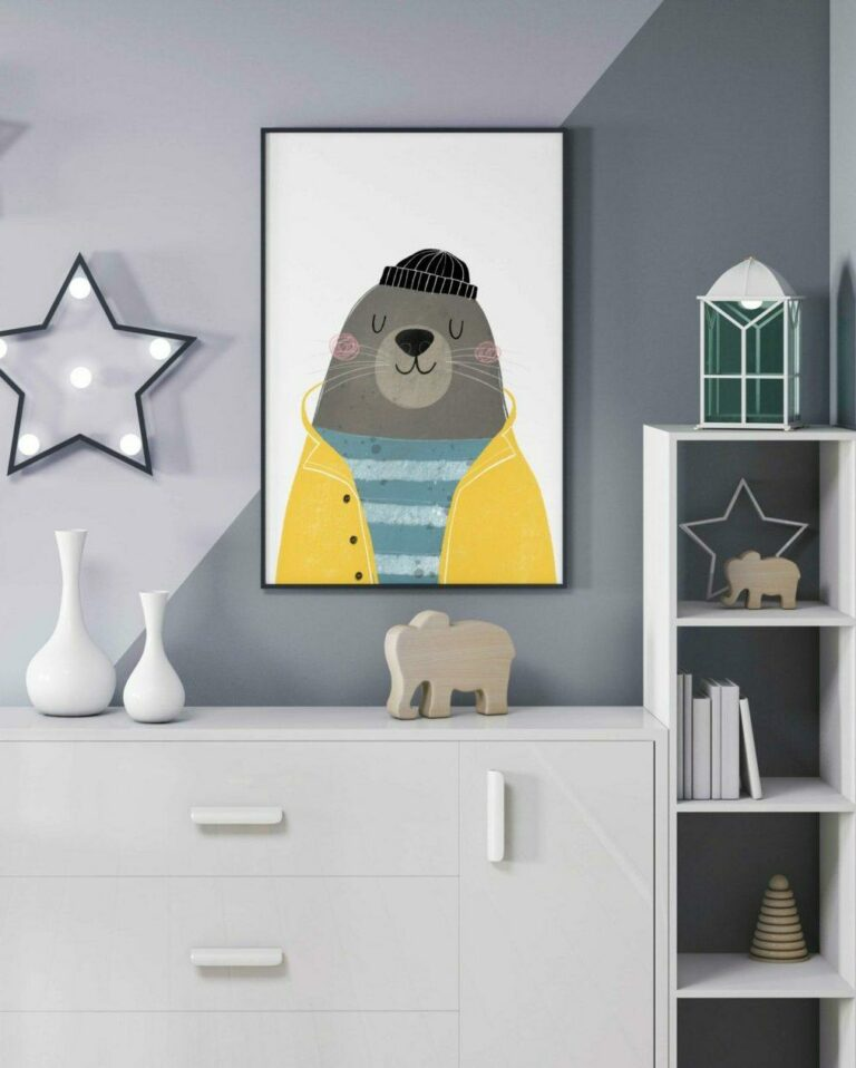 Plakat dla dziecka foka marynarz