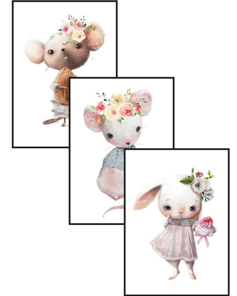 zestaw plakatów króliczka i myszki 2
