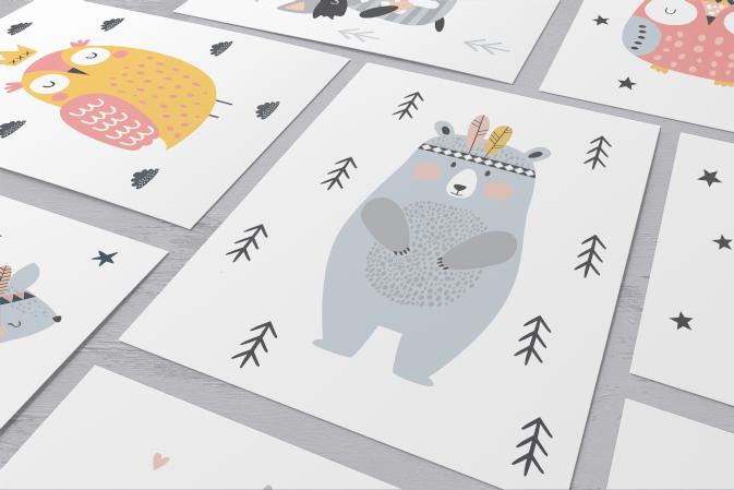 Plakaty dla dzieci kolekcja skandynawski las