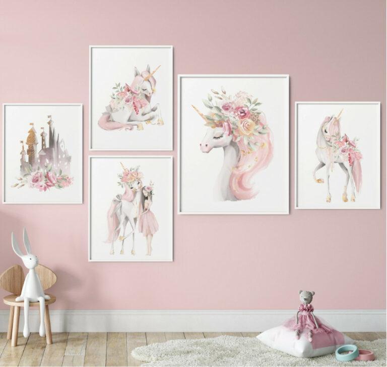 plakat z jednorożcami do pokoju dziewczynki