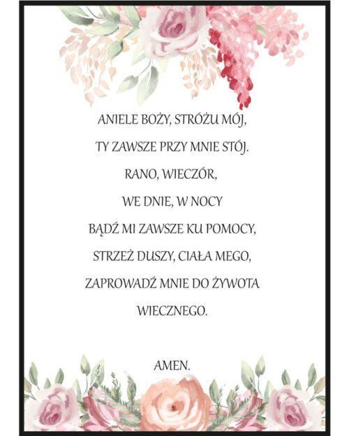 Plakat z modlitwą dla dziewczynki