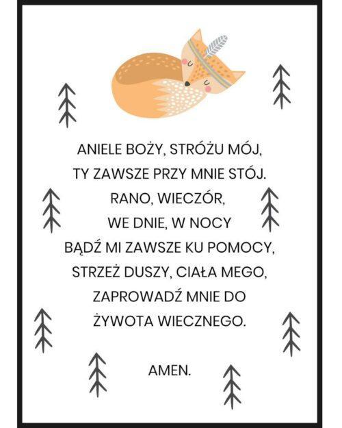 Plakat do pokoju dziecka aniele boży stróżu mój