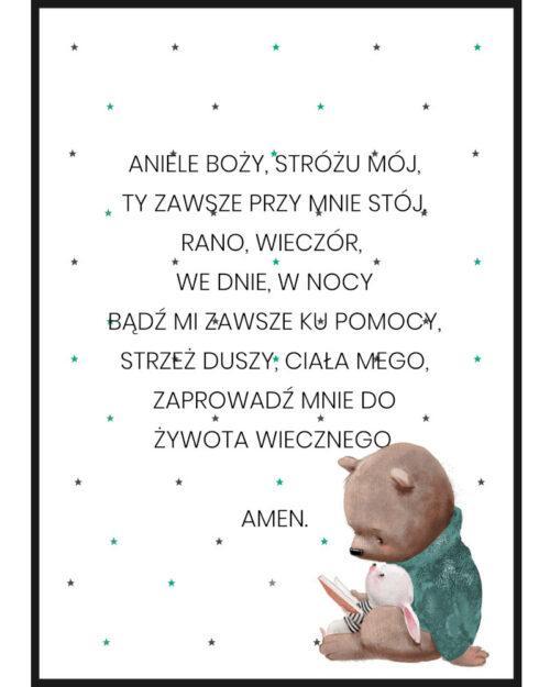 Plakat do pokoju dziecięcego z modlitwa