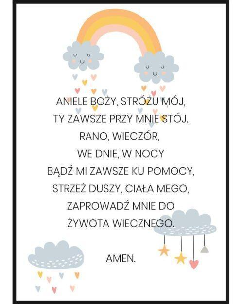 Plakat do pokoju dziecięcego z modlitwą