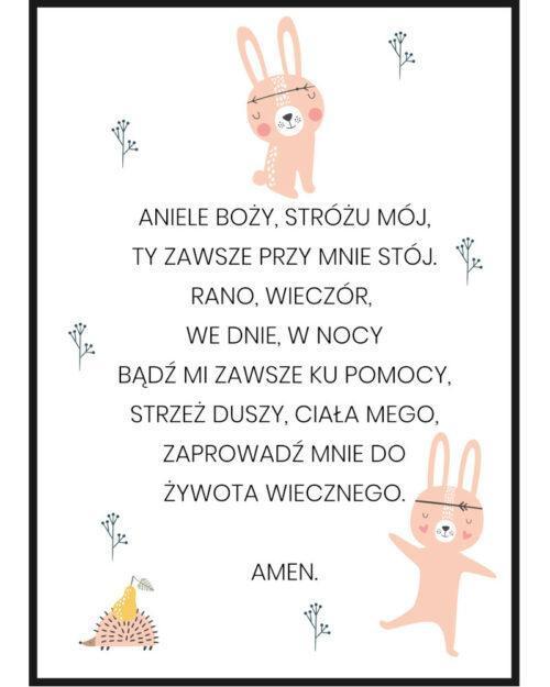 Plakat z modlitwa dla dzieci