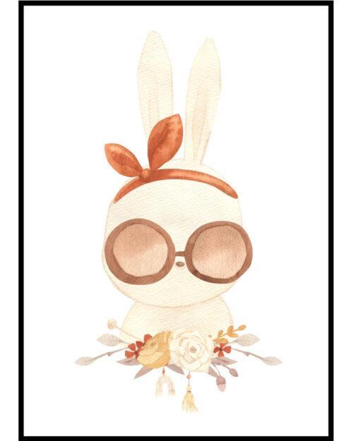 Plakat boho do pokoju dziewczynki z króliczką w okularach przeciwsłonecznych