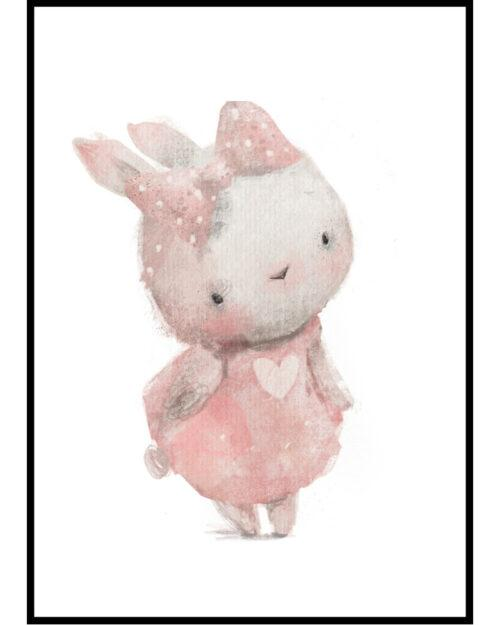 plakat do pokoju dziewczynki z zajączką w różowej sukience