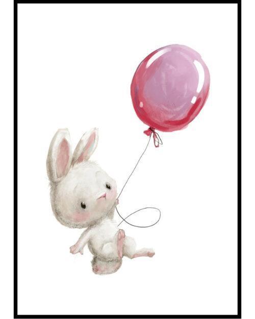 plakat dla dziecka z zajączkiem i balonikiem