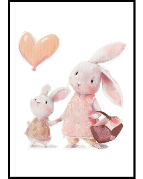 Plakat do pokoju dziewczynki Zajączek z balonem