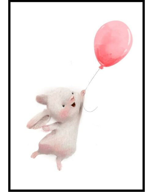 Plakat do pokoju dziecka z zającem trzyzmającym balon