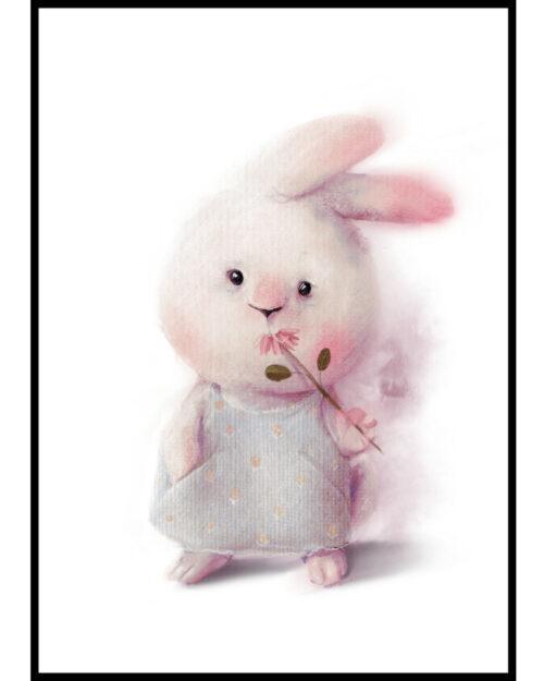 Plakat dla Dziewczynki Zajączka z Kwiatkiem