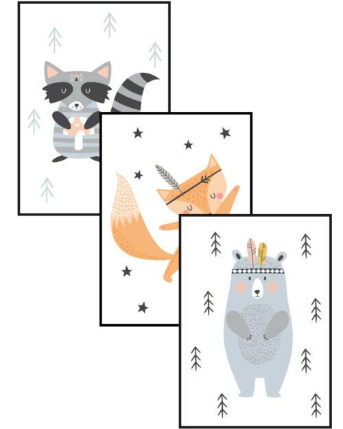 zestaw plakatów skandynawskich do pokoju dziecka