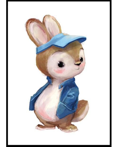 plakat do pokoju chłopca z zajacem w niebieskiej kurtce